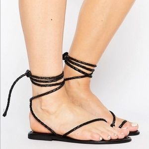 ASOS Shoes - ASOS tie leg braided black sandals